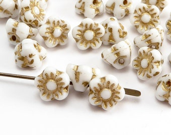 White Flower Czech Glass Beads, (30 pcs) 7mm Flower Beads, Button Flower Beads, FLW0510