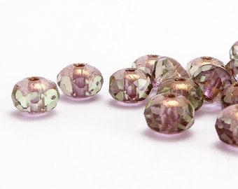 3x5mm Green Rondelle Czech Glass Beads (60 pcs)