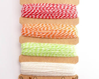 Hemptique Sizzling Summer Bakers Twine Card, Hemptique Cord, Hemptique Bakers Twine, Green Bakers Twine, Red Twine, OrangeTwine BTC0003