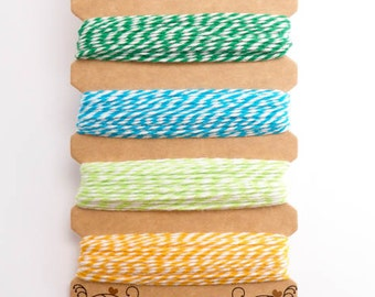 Hemptique Tutti Fruitti Bakers Twine Card, Hemptique Cord, Hemptique Bakers Twine, Green Bakers Twine, Blue Twine, Yellow Twine BTC0005