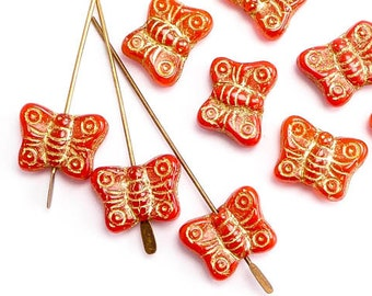 14x10mm Red Butterfly Czech Glass Beads, (10 pcs)