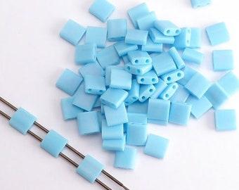 Turquoise Blue Matt AB Miyuki Tila Beads, (5 grams) 5x5mm Tila Beads, AB Beads, Japanese Beads, Seed Beads, AB Tila Beads MIY0004