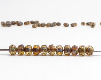 Amber Picasso Gemstone Donut Czech Glass Beads, (60 pcs) 3x5mm Rondelle Beads, Amber Gemstone Donut, Picasso Rondelle GMD0211