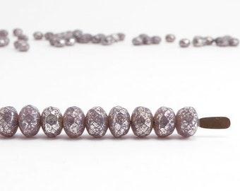 Purple Silver Gemstone Donut Czech Glass Beads, (60 pcs) 3x5mm Rondelle Beads, Purple Gemstone Donut, Silver Rondelle GMD0210