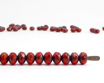 Red Picasso Gemstone Donut Czech Glass Beads, (60 pcs) 3x5mm Rondelle Beads, Red Gemstone Donut, Picasso Rondelle GMD0207