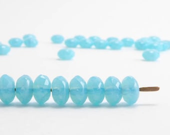 Baby Blue Gemstone Donut Czech Glass Beads (40pcs) 4x7mm Puffy Rondelle Beads, Blue Rondelle Beads, Blue Gemstone Donut Beads GMD0153