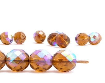 Amber AB Round Faceted Czech Glass Beads, (10 pcs) 10mm Round Beads, Amber Beads, AB Round Beads, Amber AB Beads RND0306