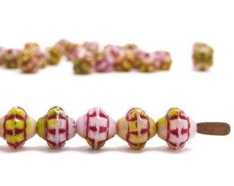 Pink and Green Fizgig Czech Glass Beads, (120 pcs) 6mm Pink Saucer Beads, Pink UFO Beads, Green Saturn Beads, Pink Saturn Beads FIZ0026