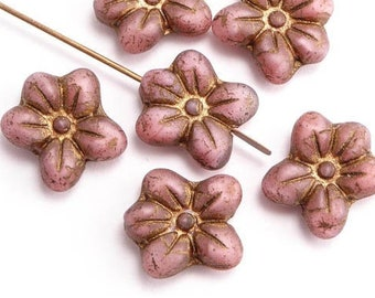 14x13mm Pink Puffy Daisy Flower Czech Glass Beads, (6 pcs)