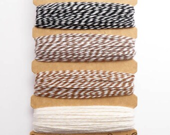 Hemptique Cappuccino Bakers Twine Card, Hemptique Cord, Hemptique Bakers Twine, Black Bakers Twine, Brown Twine, Cream Twine BTC0004