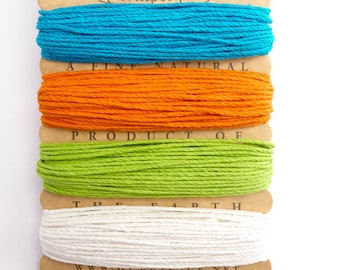 Hemptique 1mm Bright Hemp Cord Set, Hemptique Cord, Hemp Cord, Turquoise Hemp, Orange Hemp, Green Hemp, White Hemp HMC0043