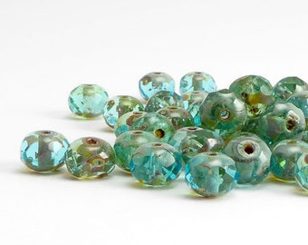 Sea Green Picasso Round Faceted Czech Glass Beads, (30 pcs) 5x7mm Gemstone Donut Beads, Rondelle Beads, Green Rondelle Beads GMD0220