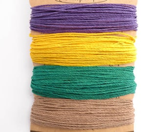 Hemptique 1mm Jester Hemp Cord Set, Hemptique Cord, Hemp Cord, Green Hemp, Brown Hemp, Yellow Hemp, Purple Hemp HMC0065