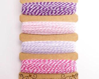 Hemptique Raspberry Sorbet Bakers Twine Card, Hemptique Cord, Hemptique Bakers Twine, Pink Bakers Twine, Purple Twine, Lilac Twine BTC0006