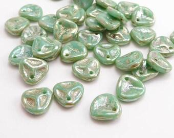 Green Picasso Petal Czech Glass Beads, (40 pcs) 8x7mm Rose Petal Beads, Green Petal Beads, Picasso Beads, Green Flower Beads PET0031