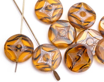 Amber Stripe Geometric Coin Czech Glass Beads, (6 pcs) 15mm Amber Coin Beads, Geometric Coin Beads, Amber Table Cut Coin Beads CON0112