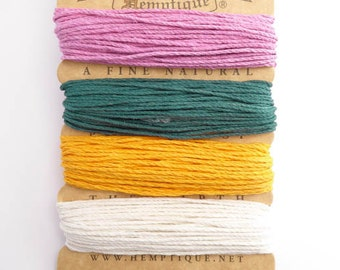 Hemptique 1mm Spring Hemp Cord Set, Hemptique Cord, Hemp Cord, Pink Hemp, Orange Hemp, Green Hemp, White Hemp HMC0044
