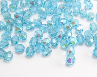 Blue AB Round Faceted Czech Glass Beads, (120 pcs) 4mm Round Beads, Blue Round Glass Beads,  Blue AB, Small Blue Beads, AB Beads RND0240