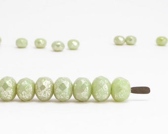 Green Silver Gemstone Donut Czech Glass Beads, (20 pcs) 5x7mm Rondelle Beads, Green Gemstone Donut, Green Rondelle, Silver Rondelle GMD0214