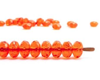 Orange Gemstone Donut Czech Glass Beads (60pcs) 4x7mm Puffy Rondelle Beads, Orange Rondelle Beads, Orange Gemstone Donut Beads GMD0155