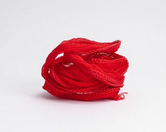 Red Crinkle Silk Ribbon, Red Ribbon, Red Silk Ribbon, Red Cord, Red Fairy Ribbon, Red Necklace Cord, Red Bracelet Cord SSR0016