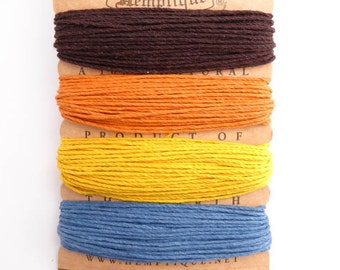 Hemptique 1mm Campfire Hemp Cord Set, Hemptique Cord, Hemp Cord, Brown Hemp, Orange Hemp, Yellow Hemp, Blue Hemp HMC0064