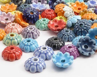 Ceramic Bead Caps, (10 pcs) 10mm Bead Caps, Flower Bead Caps,  BCP0017
