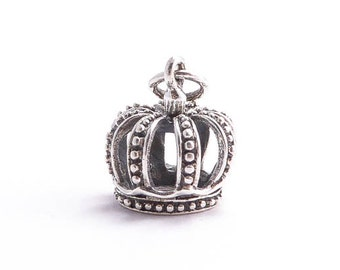 Sterling Silver Crown Charm, (1 pc) 16x16x12mm Crown Charms, Royal Charms, Sterling Silver Charms, Silver Crown CHM0151