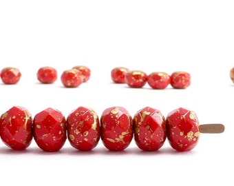 Red Gold Gemstone Donut Czech Glass Beads, (10 pcs) 6x9mm Red Gemstone Donut Beads, Gold Gemstone Donut Beads, Red Gold Bead GMD0202