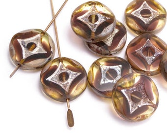 Marbled Brown Geometric Coin Czech Glass Beads, (6 pcs) 15mm Brown Coin Beads, Geometric Coin Beads, Brown Table Cut Coin Beads CON0118
