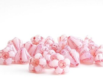 Pink Flower Czech Glass Beads, (30 pcs) 6mm Flower Beads, FLW0290