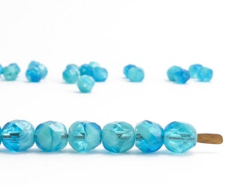 Marbled Blue Round Faceted Czech Glass Beads, (40 pcs) 6mm Round Beads, Marbled Blue Beads, Ocean Blue Round Beads,  Sea Beads RND0209