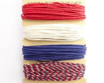Hemptique 1mm Americana Hemp Cord Set, Hemptique Cord, Hemp Cord, Red Hemp, White Hemp, Blue Hemp, Variegated Hemp HMC0072
