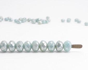 Blue Silver Gemstone Donut Czech Glass Beads, (60 pcs) 3x5mm Rondelle Beads, Blue Gemstone Donut, Blue Rondelle, Silver Rondelle GMD0212