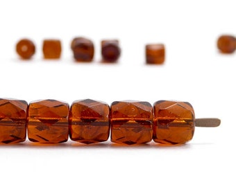Amber Rondelle Czech Glass Beads, (30 pcs) 8mm Rondelle Beads, Amber Rondelle Beads, Brown Rondelle Beads, Faceted Rondelle Beads RON0002