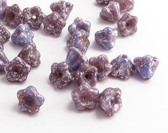 Purple Silver Bell Flower Czech Glass Beads, (30 pcs) 6mm Flower Beads, Purple Flower Beads, Silver Flower Beads, Purple Bell Flower FLW0291