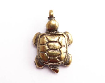 Antique Brass Sea Turtle Charm, (1 pc) 25x16mm Sea Turtle Charms, Mykonos Charms, Ocean Charms, Brass Turtle, Turtle Charms CHM0198
