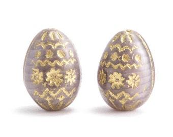 Purple Decorative Egg Czech Glass Beads, (2 pcs) 20x14mm Purple Egg Beads, Purple Oval Beads, Purple Gold Beads, Purple Glass Egg OVA0096