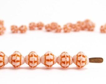 Orange Fizgig Czech Glass Beads, (120 pcs) 6mm Orange Saucer Beads, Orange UFO Beads, Orange Saturn Beads FIZ0024