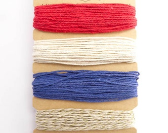 Hemptique 1mm Americana Gold Hemp Cord Set, Hemptique Cord, Hemp Cord, Red Hemp, White Hemp, Blue Hemp, Gold Hemp HMC0073