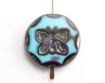 Blue Butterfly Coin Czech Glass Bead, (1 pc) 26mm Butterfly Coin Bead, Blue Butterfly Bead, Blue Coin Bead, Butterfly Bead ANM0017