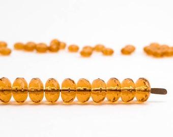 Yellow Rondelle Czech Glass Beads, (20 pcs) 4x7mm Rondelle Beads, Yellow Beads, Fire Polished Beads, Gemstone Donut Beads GMD0078