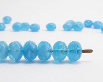 Marbled Blue Gemstone Donut Czech Glass Beads (20pcs) 4x7mm Puffy Rondelle Beads, Blue  Rondelle Beads, Blue Gemstone Donut Beads GMD0149