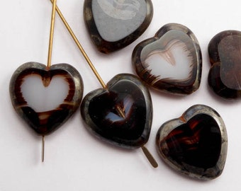 Marbled Brown Heart Czech Glass Beads, (6 pcs) 16x15mm Brown Heart Beads, White Heart Beads, Large Heart Beads, Marbled Heart Beads HRT0055