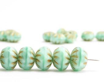 Mint Green Cruller Czech Glass Beads, (10 pcs) 7x10mm Green Cruller Beads, Gold Cruller Beads, Green Gold Beads CRL0006