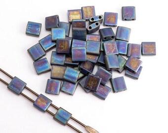 Black Matte AB Miyuki Tila Beads, (5 grams) 5x5mm Tila Beads, AB Beads, Japanese Beads, Seed Beads, AB Tila Beads, Square Beads MIY0001