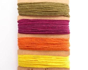 Hemptique 1mm Sadie Hawkins Hemp Cord Set, Hemptique Cord, Hemp Cord, Pink Hemp, Green Hemp, Orange Hemp, Yellow Hemp HMC0058
