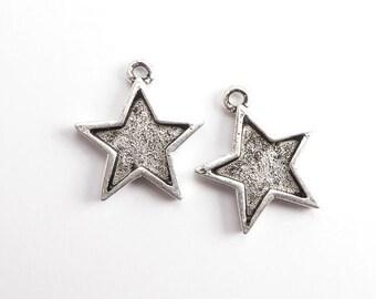 Antique Silver Star Bezel Charms, (2 pcs) Star Charms, Celestial Charms, Star Pendant, Star Bezel, Silver Star Charm CHM0230