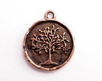 Antique Copper Tree of Life Charm, (1 pc) Copper Charms, Tree of Life Charms,  Nunn Design Charms 23.4 x 19.8 x 2.8mm CHM0210
