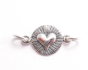 Sterling Silver Scored Line Heart Link Charm, (1 pc) 9.5x22x1.5mm Heart Charms, Link Charms, Sterling Silver Charms CHM0166